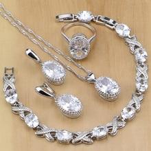 Doğal 925 ayar gümüş takı beyaz CZ takı setleri kadınlar için küpe kolye kolye yüzük bilezik ücretsiz hediye kutusu