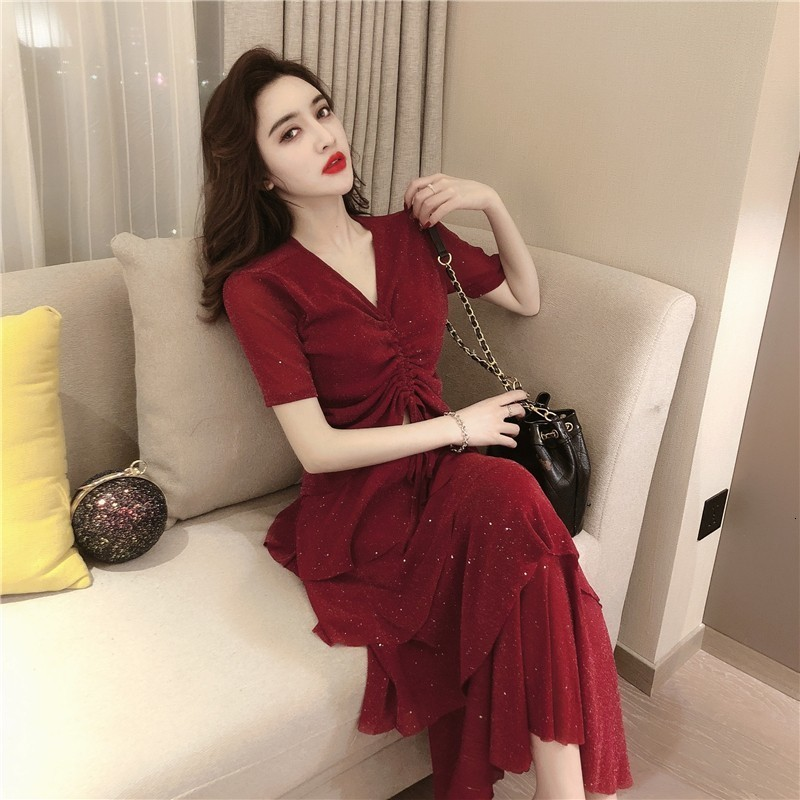 Fashion New Womens Sequins Two Piece Sets Short Sleeve V-Neck Drawstring Cropped Top T-Shirts Elastic Waist Calf Length Dresses