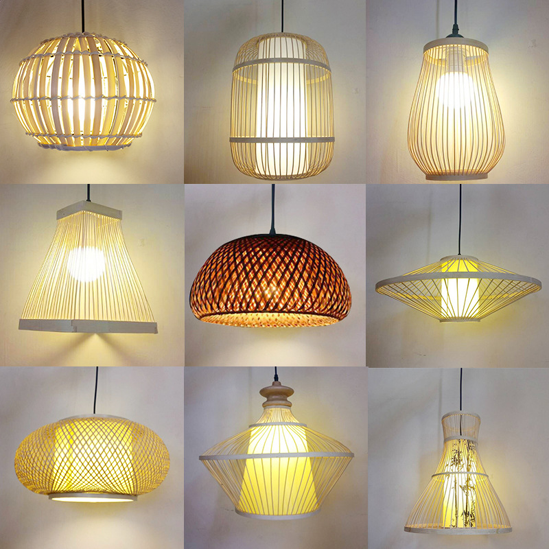 Chinese Style Bamboo Artwork Lampshade Art Hotel Chandelier Creative Cool Balcony Lantern Simple Lanterns Rattan Lamps Factory P