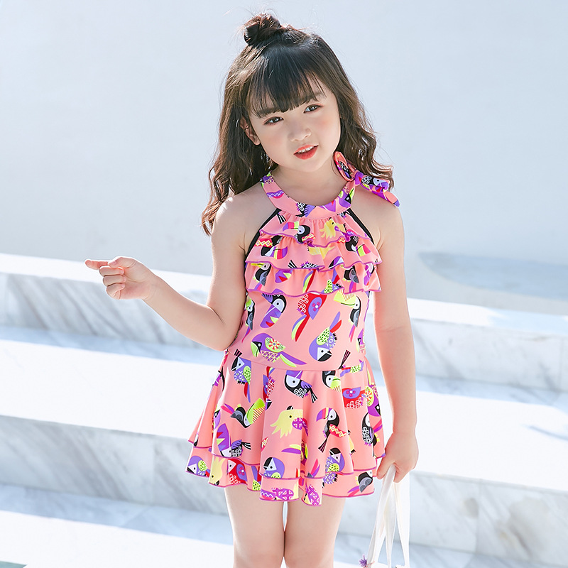 KID'S Swimwear 2019 New Style One-piece Swimming Suit Girls Cute Flounced Children Bathing Suit Foreign Trade CHILDREN'S Swimsui