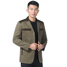 Men Casual Jackets Autumn Spring Army Green Khaki Single-breasted Notched Collar Cotton Coats Male Leisure Daily Outerwear Men
