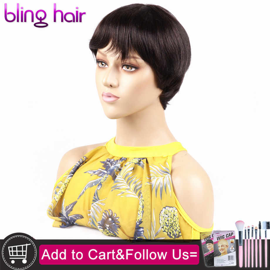 Kısa kesim Bob olmayan dantel peruk % 100% İnsan saçı peruk saçak ile siyah kadınlar için brezilyalı düz ucuz saç patlama ile #2 #4 renk