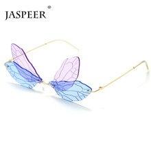 JASPEER New Punk Rimless Sunglasses Women Dragonfly Steampunk Sunglasses Men Bicolor Frameless Sun Glasses UV400 Fashion Eyewear