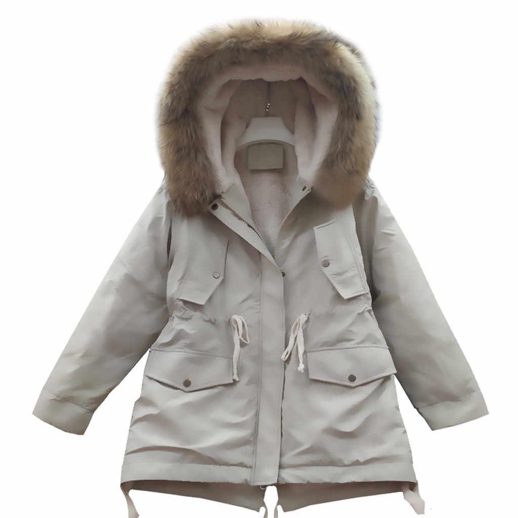 冬のコートの女性冬フェイクファーフード付きボタンコート女性ポケット秋暖かい生き抜くオーバーパーカーチャケータ mujer