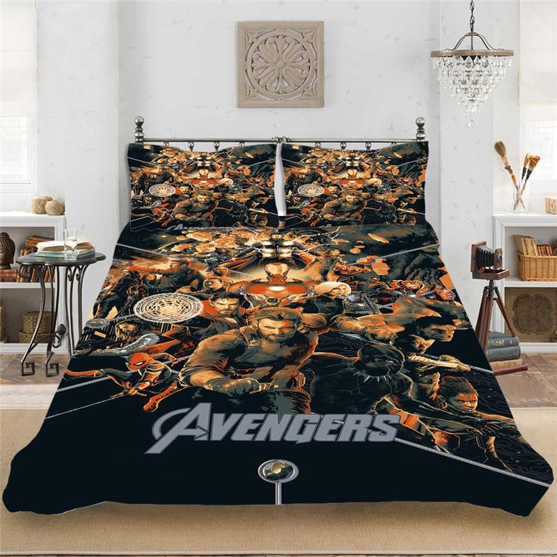 Thanos Marvel Superhero Winter Bedding Set King-Full Bedclothes Include Duvet Cover Pillowcase Print Home Textile Bed Linens