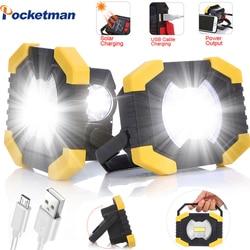 100W led flashlight solar work lamp Spotlight as power bank Work Light 180 Degree solar charging sola Lamp with Built-in Battery