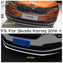 Amortecedor dianteiro splitter sill listras capa de proteção lábios guarnição kit estilo do carro acessórios 3 pçs apto para skoda karoq 2018   2020