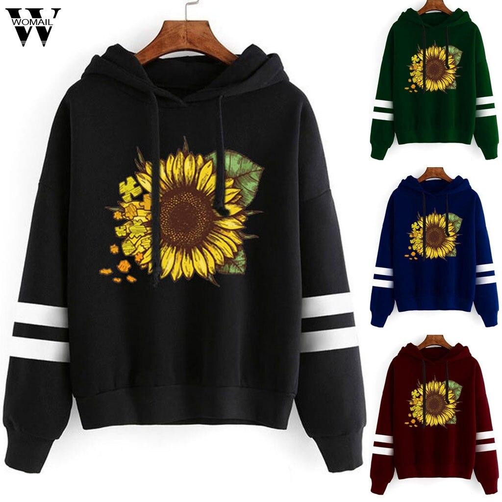 Womail Sweatshirt  Womens Cat Print Long Sleeve Hoodie Sweatshirt Hooded Pullover Tops utumn women cute Sport Sweatshirt S-2XL