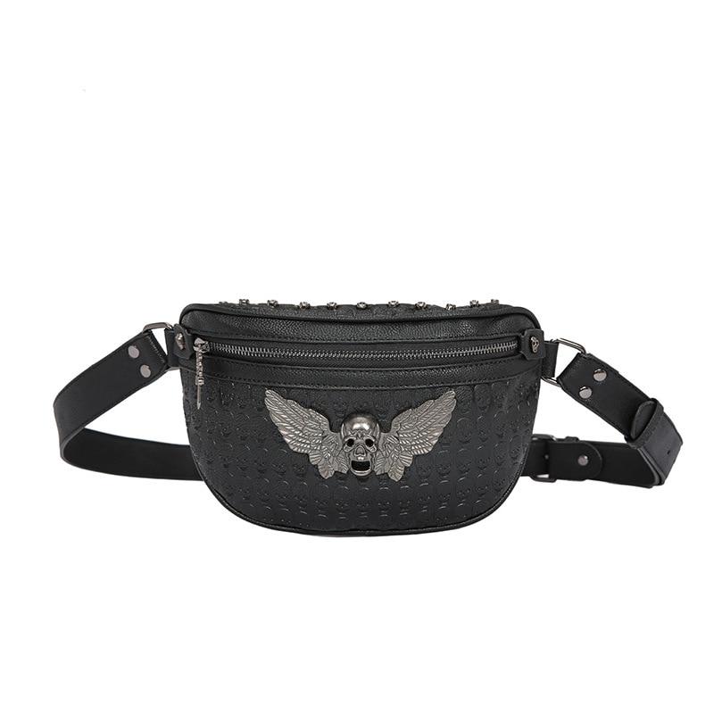 Men's Fashion Rivet Waist Bag Black PU Leather Belt Bag Gothic Skull Fanny Pack Male Ghost Head Chest Bag Casual Rock Bum Bag
