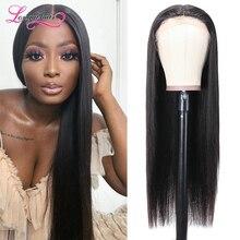 Прямые волосы Longqi, парик на сетке 14-24 дюйма, бразильские прямые волосы T-Part, парик на сетке 150%, плотность T-Part, парик на сетке, прямые человеческ...