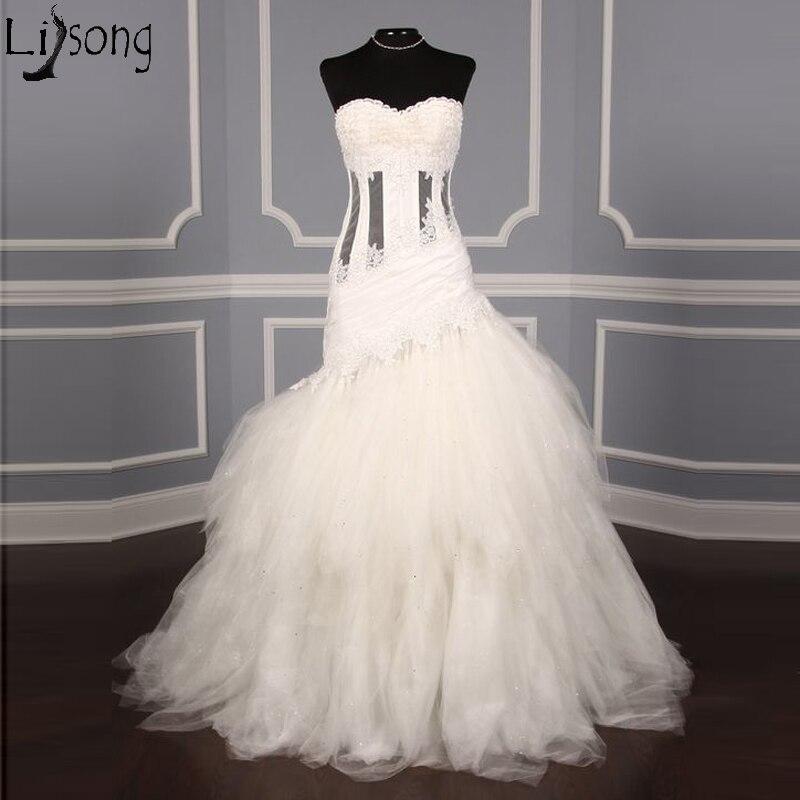 Gorgeous Mermaid Wedding Dress Strapless Sweetheart Corset Ivory Bridal Wedding Gowns Lace Applique Bride Dress Vestido De Noiva