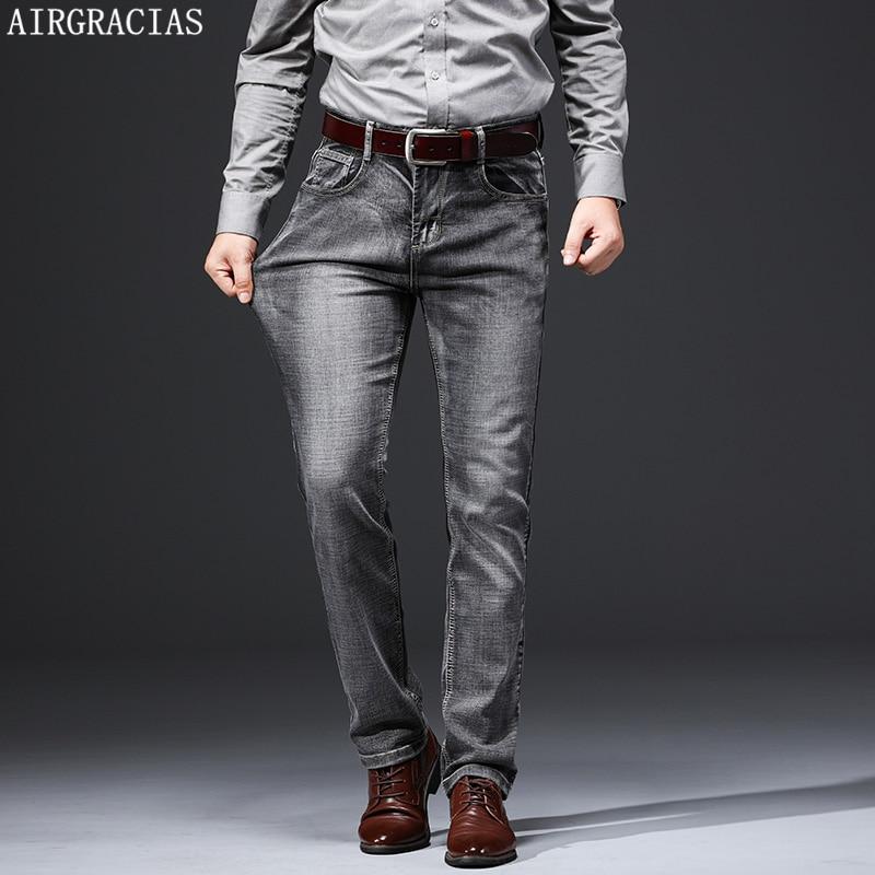 AIRGRACIAS Men Men Jeans Classic Retro Stretch Jean For Male Business Casual Denim Pants Long Trousers SIZE 28-38 2019 New