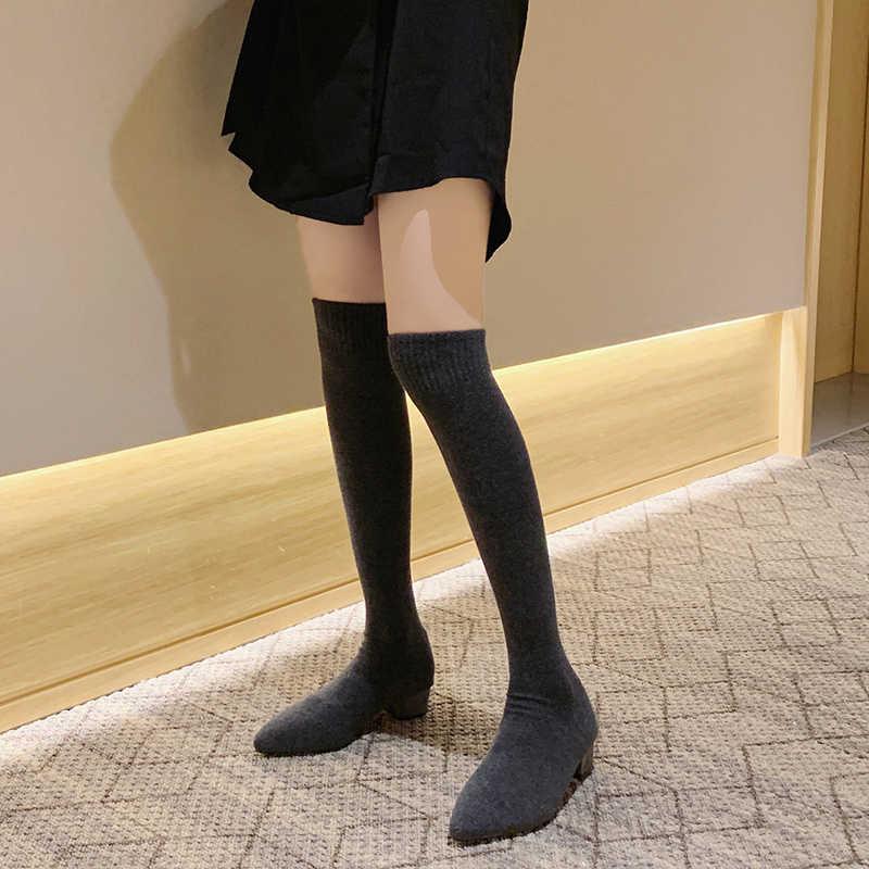 Çorap uzun çizmeler sonbahar kış yeni moda Slip-On çorap ayakkabı diz çizmeler üzerinde kadın sivri burun uyluk yüksek çizmeler bayanlar ince