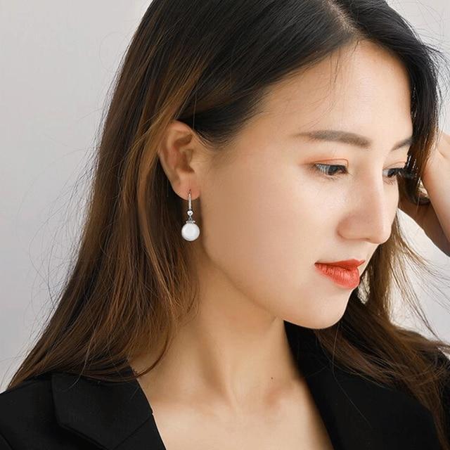 Huitan Elegant Round Imitation Pearl Dangle Earrings Dazzling CZ Women Engagement Wedding Graceful Accessories Fashion Earrings 4