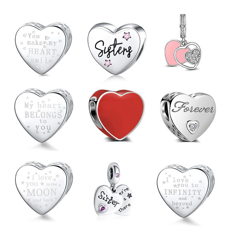 DALARAN Heart Shape Love Sterling Silver Charm 925 Friendship Sisters Bead Fits Original Pandora Charm Bracelet DIY Jewelry