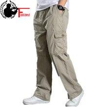 Летние хлопковые мужские брюки карго, мужские мешковатые джоггеры, тактические брюки, легкие рабочие брюки армейского зеленого цвета, Свободные повседневные брюки размера плюс