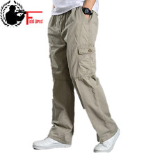 קיץ כותנה גברים מכנסיים מטען Mens רצים בבאגי טקטי מכנסיים קל משקל צבא ירוק לעבוד מכנסיים רופף מזדמן מכנסיים בתוספת גודל