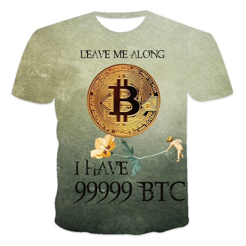 2021 latest design Men's T-shirt Bitcoin humor Letter printing Funny sentences 3D printed T-shirt Men and women Tees BTC series 5