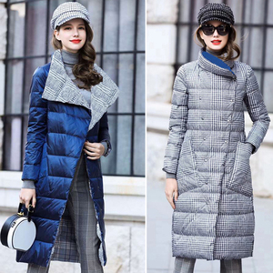 Image 3 - Duck Down Jacket Women Winter Long Thick Double Sided Plaid Coat Female Plus Size Warm Down Parka For Women Slim Clothes 2020