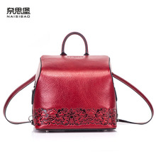 цена на NAISIBAO 2019 new genuine leather backpack  fashion Embossed bag Multi-function leather bag vintage shoulder bag women backpack