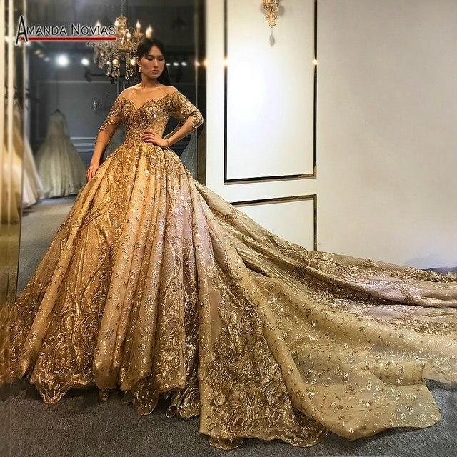 Amanda Novias 2020 kolekcja ciężki frezowanie praca złota suknia ślubna 100% rzeczywiste zdjęcia