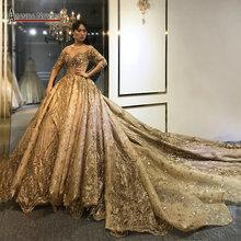 Amanda novias 2020 coleção pesado beading trabalho vestido de casamento dourado 100% fotos reais