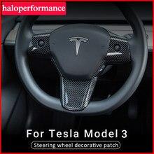 Patch décoratif de volant de Tesla modèle 3 2021, accessoires en fibre de carbone ABS