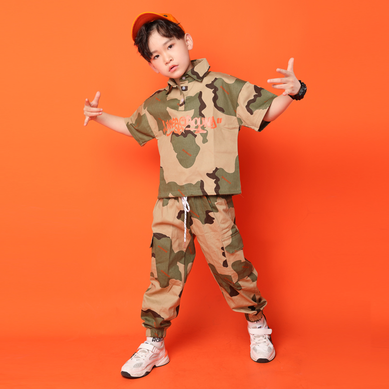 Kid Hip Hop Clothing Casual Running T-shirt Top Camouflage Pants For Girls Boy Jazz Dance Costume Ballroom Dancing Clothes Wear