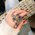 Блестящая сторона новый модный бренд ювелирных изделий элегантные вечерние кольца для женщин подарок хрустальные цветы обручальные кольц...