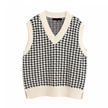 Women Vest Sweater 2021 Fashion Knitted Sweater Loose Vintage Female Waistcoat Chic Oversize Sweater Tops Women Clothes Outfit