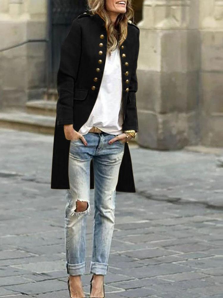 2020 Spring Women Long Sleeve Woolen Double Breasted Button Cardigan Jacket Coat Lapel Wool Long Overcoat Outwear Manteau Femme