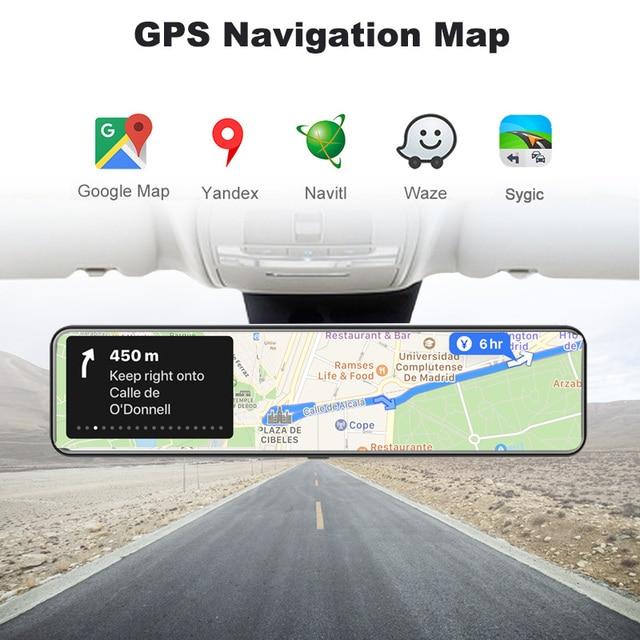 "OBEPEAK 12"" IPS Car DVR Rearview Mirror RAM 4G + ROM 32G Android 8.1 Wifi 3 Split Screen ADAS Dual Dash Cam Car Video Recorder 5"