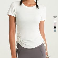 Women Sexy Bandage Yoga T Shirts Gym Crop Tops Fitness Women Sportswear Slim Sport Training T Shirts Workout Running Shirts T878 cheap JJunLiM Polyester spandex Short Broadcloth Breathable Quick Dry