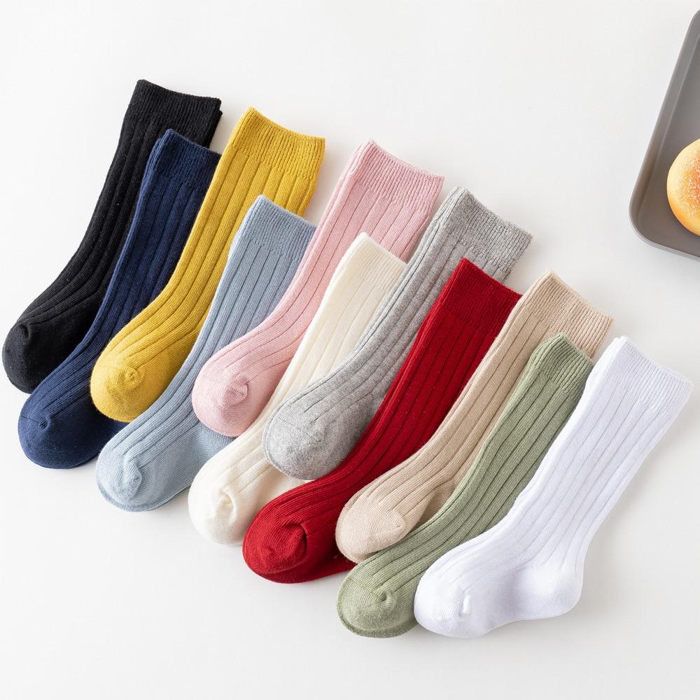 Детские носки для новорожденных, Одежда для младенцев, маленьких детей, девочек, носки до колен для мальчиков носки для маленьких девочек хл...