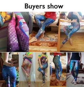 Image 5 - NADANBAO Galaxy Meerjungfrau Leggings Frauen Workout Fitness Legging Bunte Fisch Waagen Gedruckt Leggins Plus Größe