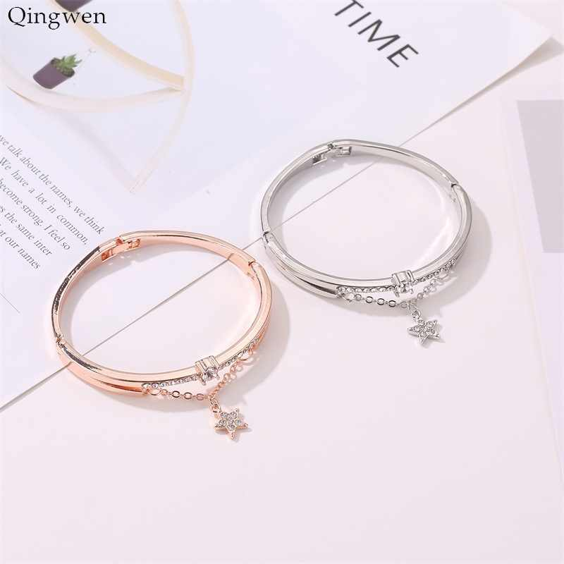 Qingwen Korean New Fashion Rose Gold Pentagon Inlaid Metal Female Bracelet Students Bracelet Jewelry Wholesale CA4517/w