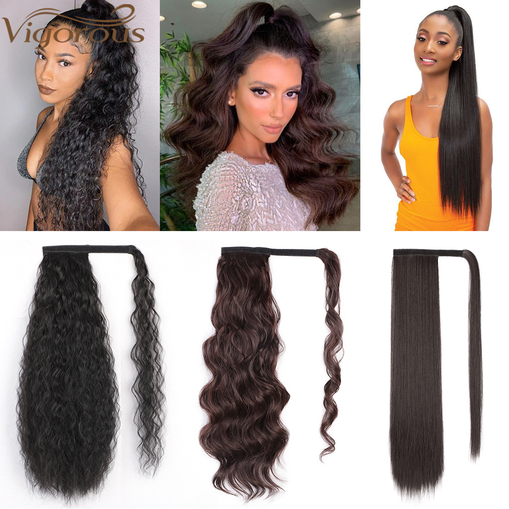 Vigorous Kinky Curly Ponytail Hair Extension Clip For Women Synthetic Wrap Around Magic Paste Afro Pony Tail Fake Hair