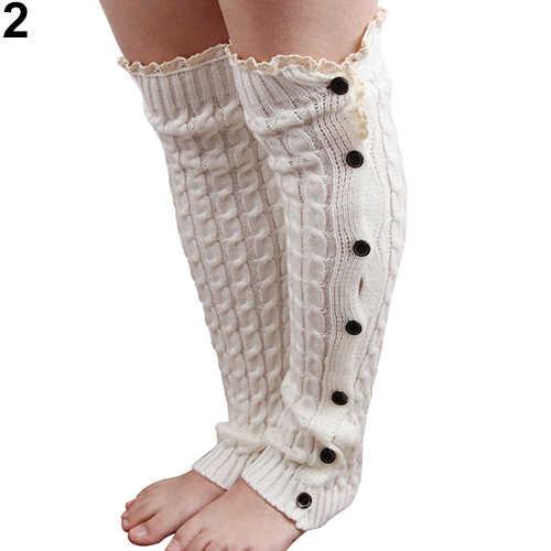 Wanita Crochet Rajutan Lace Trim Tombol Kaus Kaki Boot Penghangat Kaki Setinggi Lutut Kaus Kaki Kaus Kaki