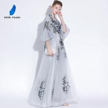 DEERVEADO בציר גבוהה V צוואר ארוך שמלת ערב עם רקמת תחרה שמלת צד פורמלי שמלות לנשף שמלת חצי שרוולים YS427