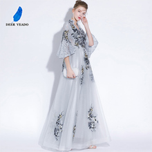 DEERVEADO Vintage High V Neck Long Evening Dress with Embroidery Lace Dress Formal Party Dresses Prom Gown Half Sleeves YS427