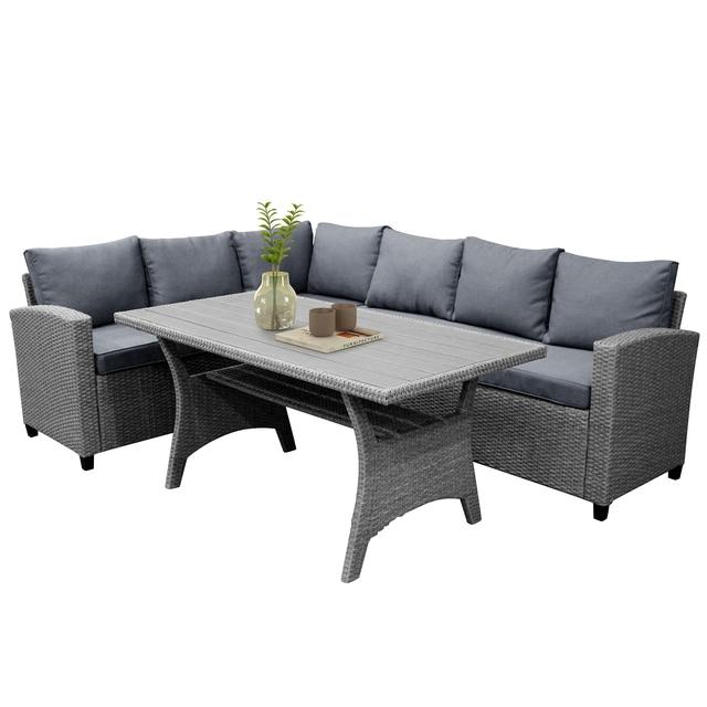 Rattan Patio Furniture Set Dining Table Sofa Wicker Home Furniture Outdoor Garden Poolside Decor Modern 5