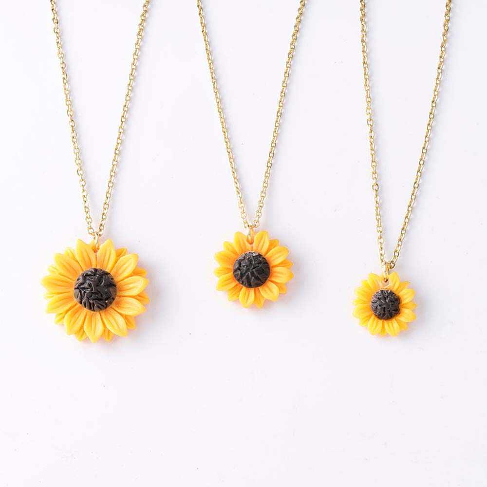 Sweet Sunflower Pendant Necklace Pendant Size 15mm 18mm 25mm Resin Flower Collar Necklace for Women Girl Jewelry Gift