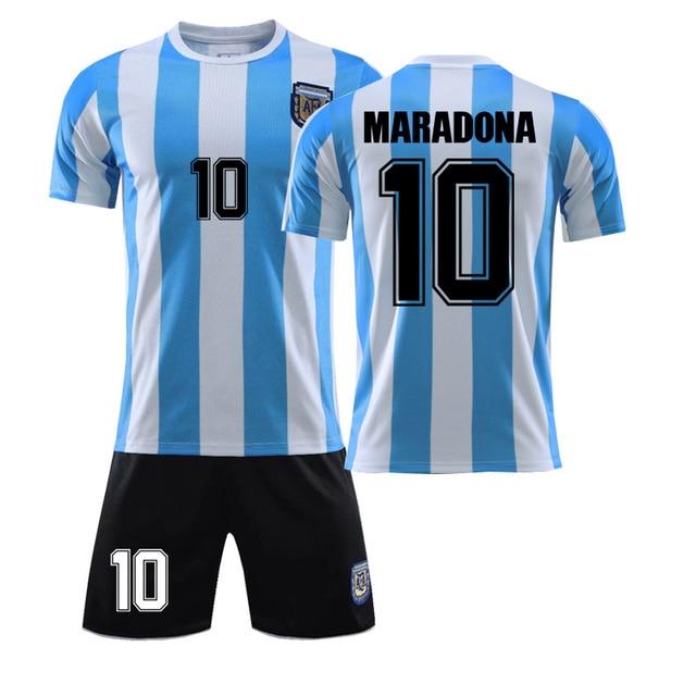 1986 Champion Maradona Jersey No.10 Argentina Vintage T-shirts Commemorative Tops Tees Set 10