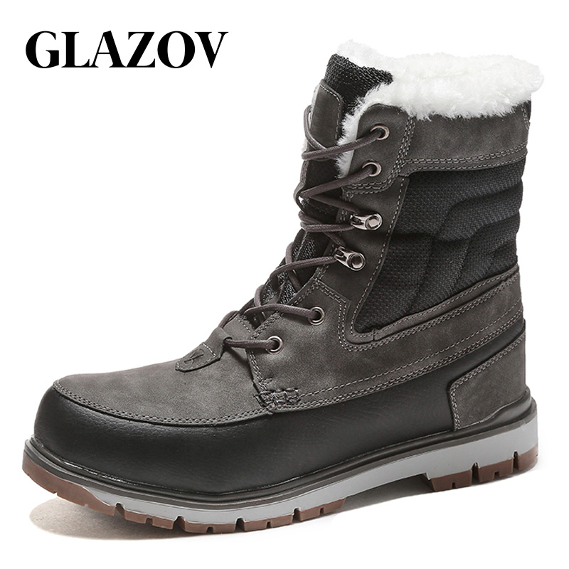 GLAZOV Brand Male High Quality Genuine Leather Winter Autumn Men Boots Winter Fur Waterproof Ankle Boots Outdoor Work Boots