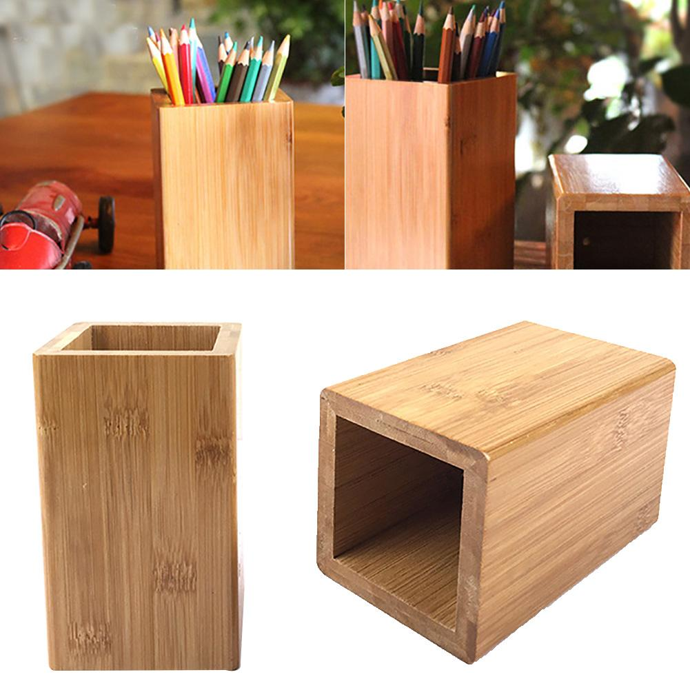 Multifunction Creative Bamboo Stationery Organizer Pencil Organizer Storage Box Case Square Container