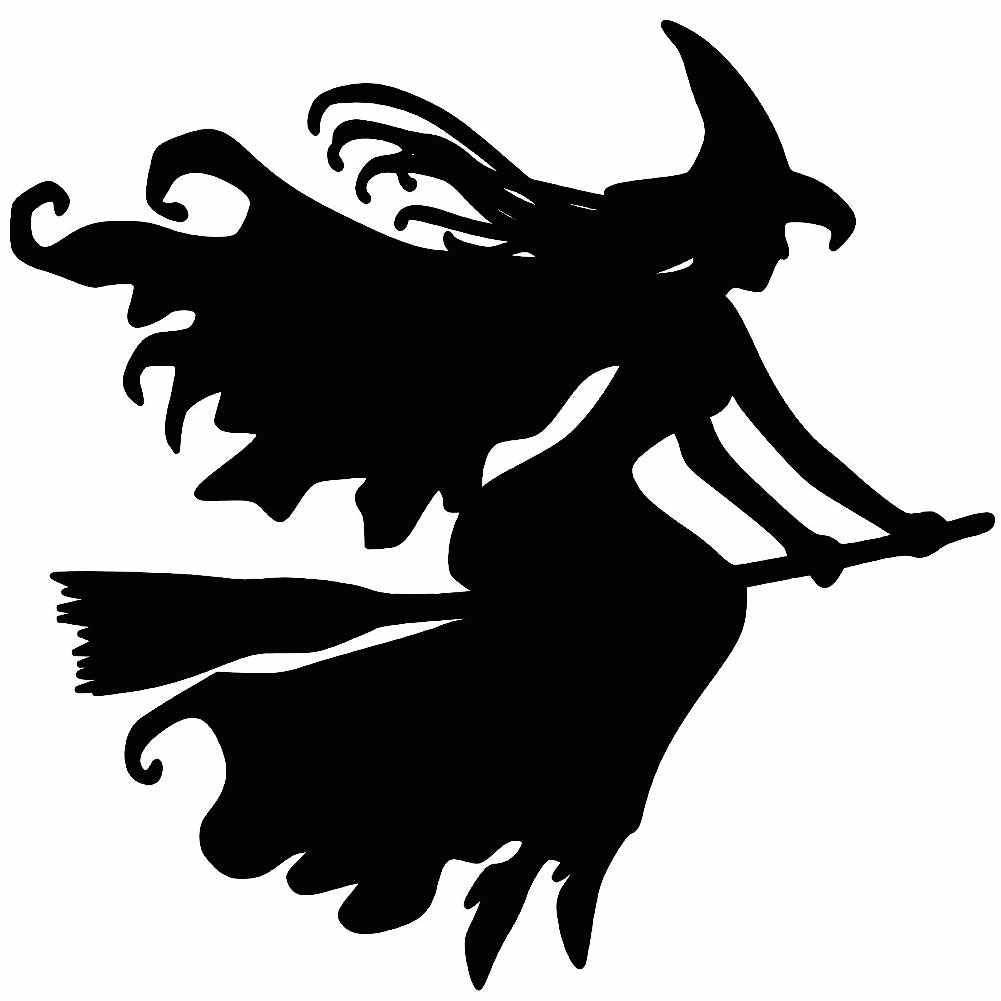 Strega sulla Scopa Halloween Auto Riflettente Decalcomanie Dell'autoadesivo Della Decorazione