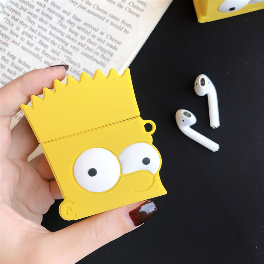 Cute Cartoon Bart Simpson Shockproof Headphone Case For Apple Airpods 1/2 Silicone Protection Earphone Skin Cover Accessories