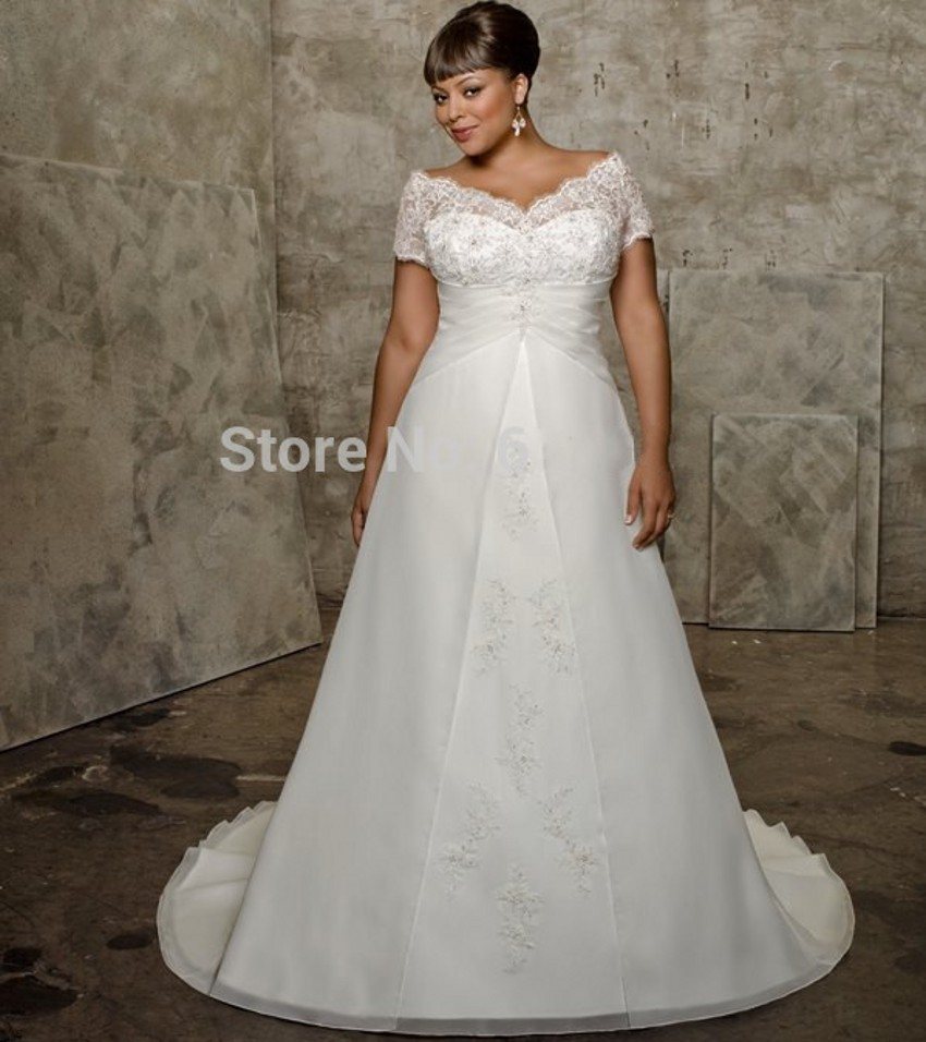 White Lace Plus Size Bridal Gown With Sleeves Vestidos De Novia Robe De Mariage Mariee Mother Of The Bride Dresses