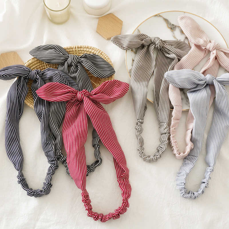 Korean Floral/Stripe Print Rabbit Ears Headband Elastic Hairband Women Bow Knotted Turban Girls Ponytail Holder Hair Accessories