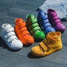 Повседневная детская обувь для мальчиков и девочек, спортивная обувь, дышащие джинсовые кроссовки, детская парусиновая обувь, детские ботинки сплошного цвета, осень 2020